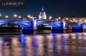 CLASSICAL BRIDGE PURPLE BLUE ILLUMINATED