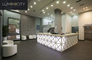 RECEPTION DESK ILLUMINATED WITH WHITE LIGHT
