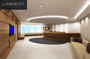 OFFICE RECEPTION WITH LED SPOTS AND OVERHEAD LIGHTING