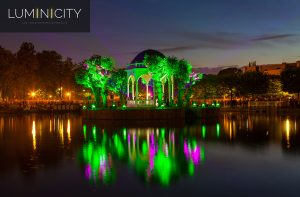 PARK PAVILION IN COLOURFUL SOUND AND LIGHT SPECTACLE